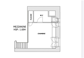 Mezzanine floor with bathroom