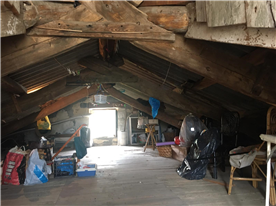 Attic with wooden beams