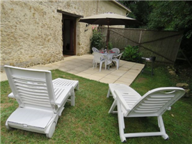 Private garden & terrace in front of of the gîtes.