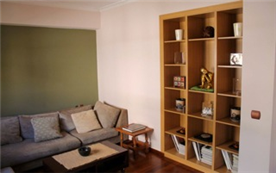 Built-in shelving space throughout the apartment
