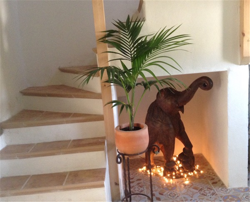 Staircase guarded by Nellie