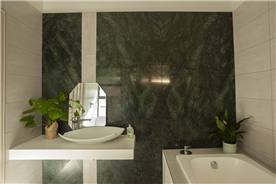 Guest Bathroom 3 with marble wall and custom vanity designs