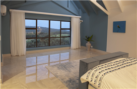 Main Bedroom with views over the golf course to the ocean.
