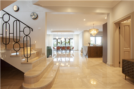 Custom designed staircase and marble wall lighting