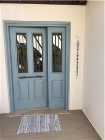 Santorini Blue, Traditional Wooden Door