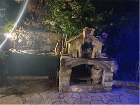 BBQ and Pizza Oven at night