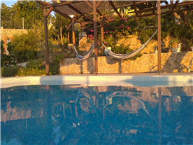 Pool hammocks and raised flower beds from sun room.