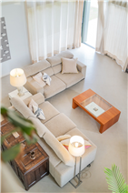 double height ceiling of a large living-room in a countryside house for sale in Barcelona, Spain