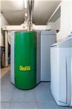 biomass boiler austrian brand Ökofen to heat water and underfloor heating