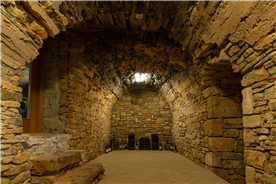stone-vaulted wine cellar of the 15th century located in the farm house close to Barcelona, Spain