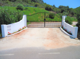 entrance gates from quiet road