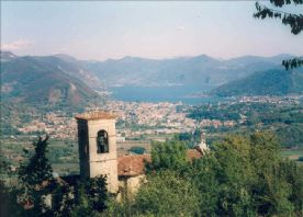 View of Lake Iseo from nearby hills