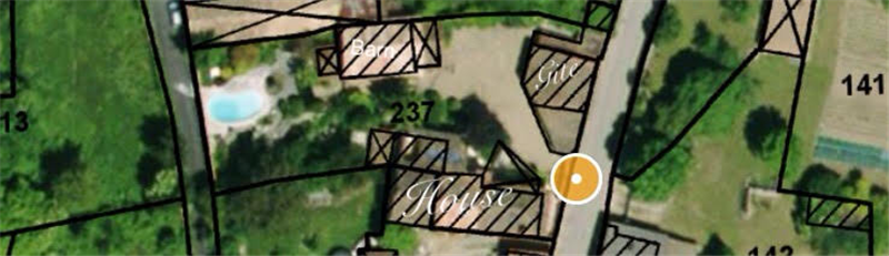 Plot showing position of House,Barn Gîte and Pool.