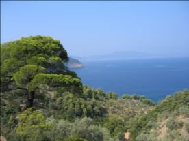 View over Megali Ammos across to the island of Skopelos