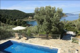 View over pool towards the Aegean and Skopelos