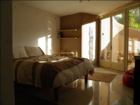 Bedroom 3: Very large double, with basin, walkin wardrobe & own private patio