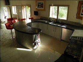 Kitchen with concrete worktops