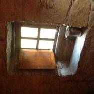 Stone window seat, bedroom