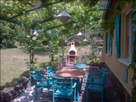 Outside dining under the vine