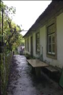 terrace at rear with marble table
