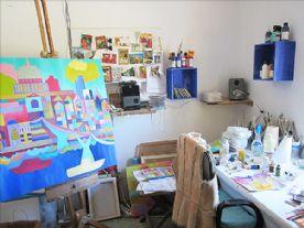 Bedroom used as art studio
