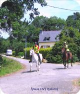 Some sunday mornings our rue becomes a chemin(trail) for horse riders to/from Chateau (200mtrs)