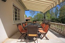 terrace with motorized awning