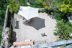 Looking down on the garden area