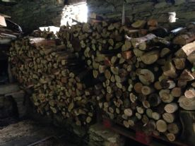 Firewood stores inside barn